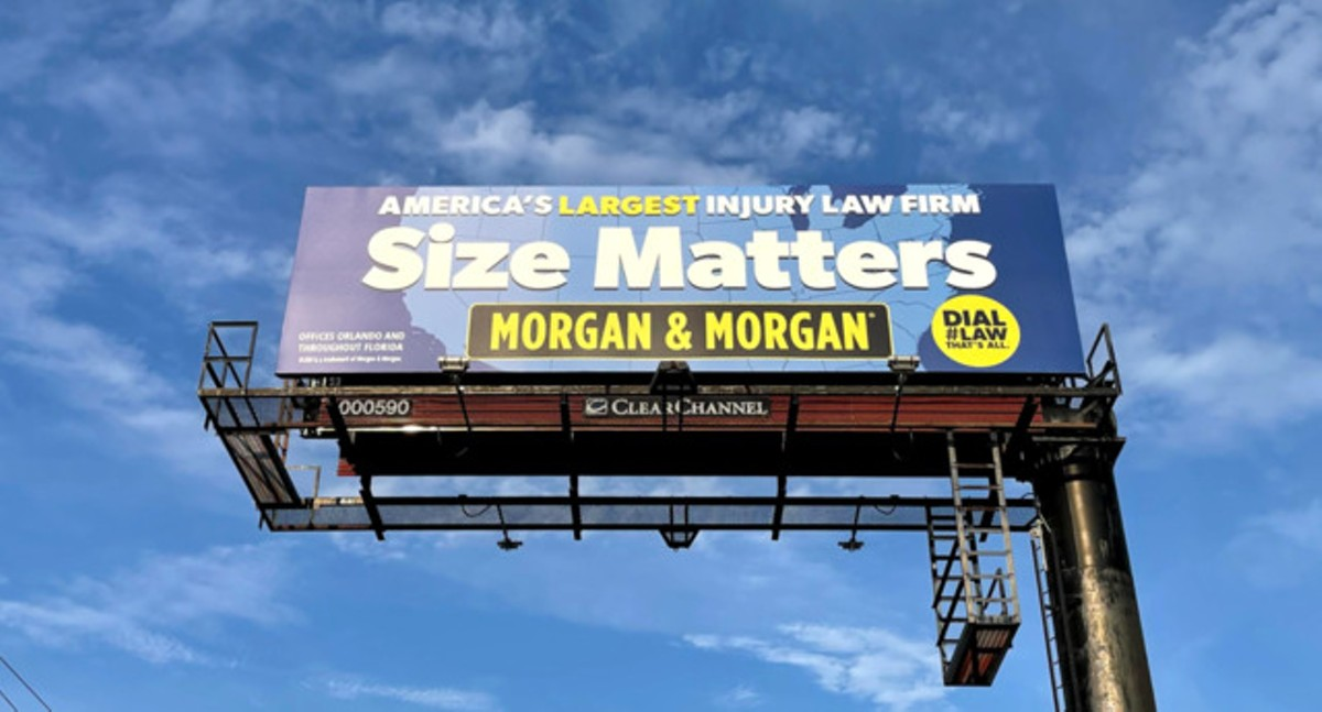 A 'Size Matters' Morgan & Morgan billboard pictured in Tampa, Florida, on May 26, 2021.