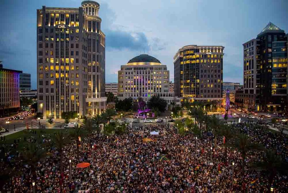 Pulse vigil, downtown Orlando, 2016