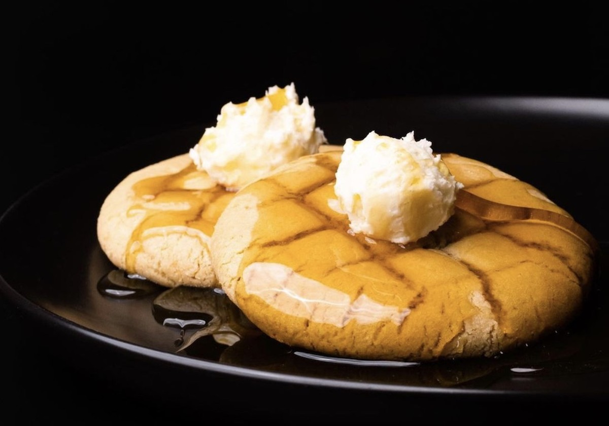 Crumbl's 'waffle cookie' topped with maple syrup and buttercream 'butter'