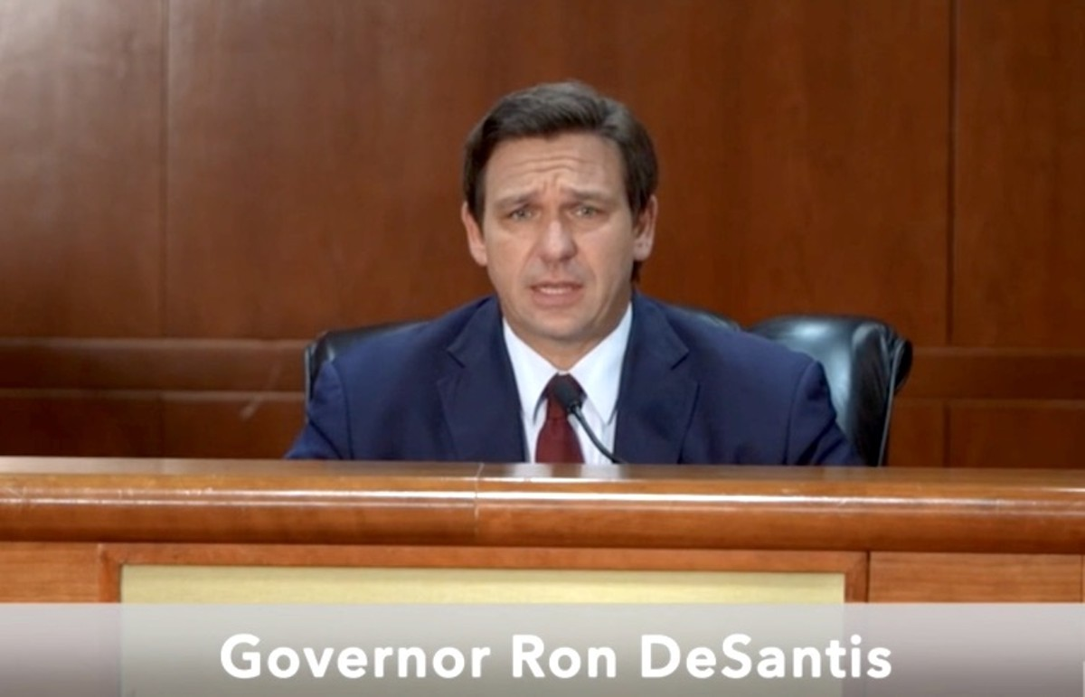 Gov. Ron DeSantis in a still from the video posted to his Rumble account.