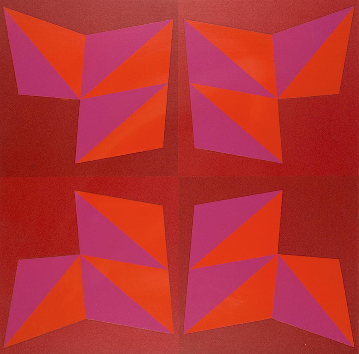 "Doris Leeper ""Split Square Triangle VII"" Oil on Masonite, 1973"