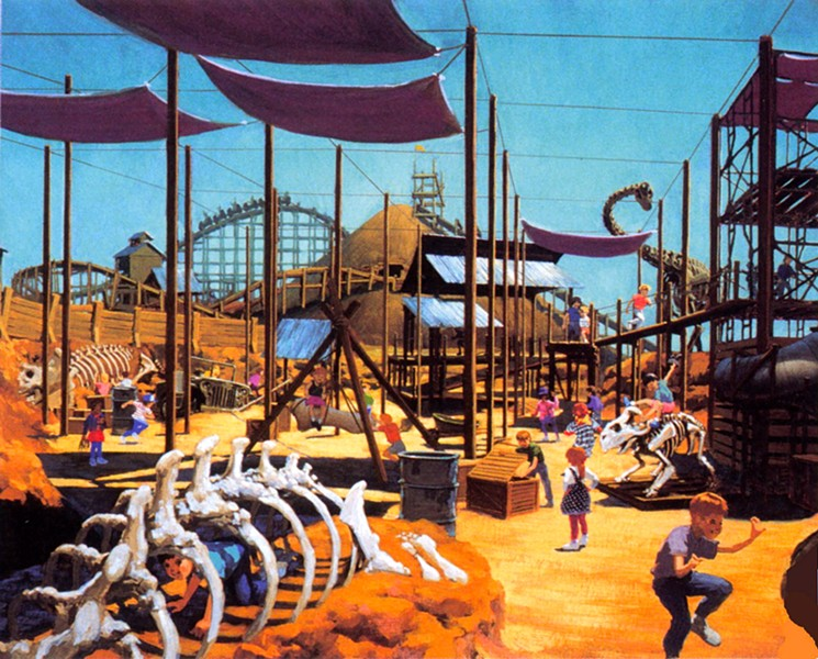 This early concept art for Dinoland shows the proposed wooden coaster in the background. - IMAGE VIA JAMBO EVERYONE