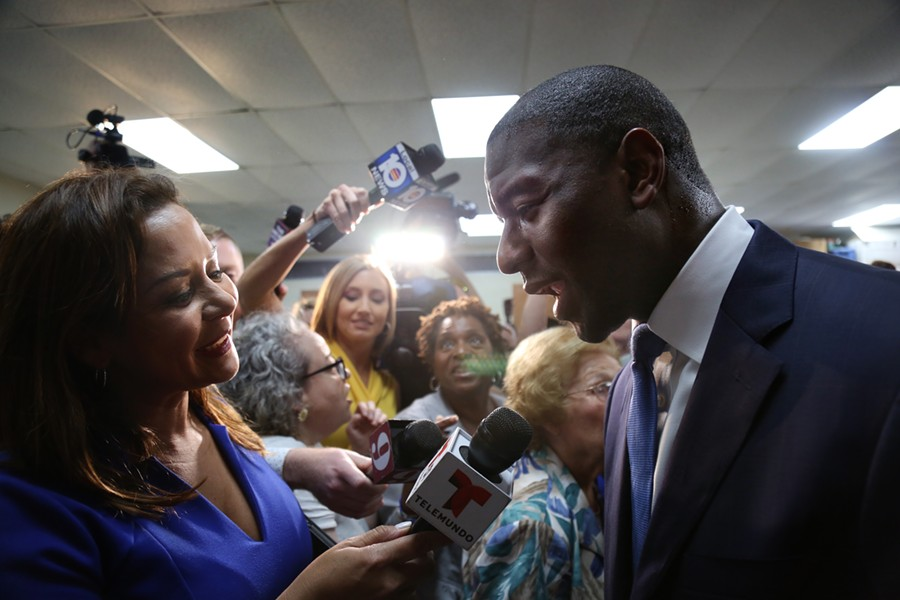 Democratic nominee for governor Andrew Gillum speaks to reporters following a union hall speech on Friday Aug 31 2018. - PHOTO BY JOEY ROULETTE