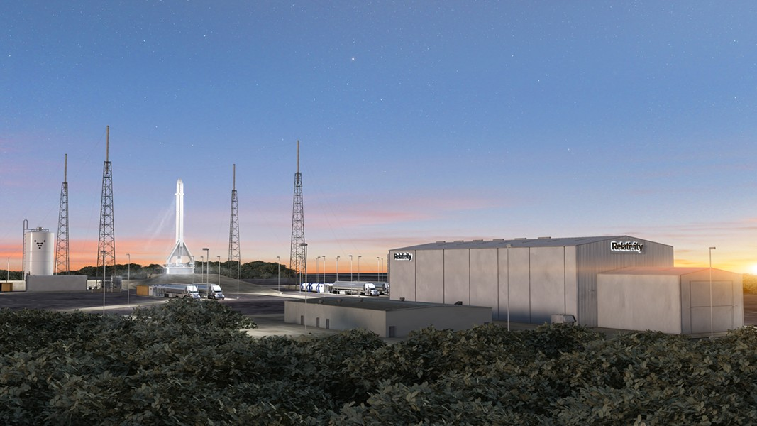 A rendering shows Relativity's planned Cape Canaveral facilities with Terran-1 vertical on Launch Complex 16. - RENDER COURTESY OF RELATIVITY SPACE