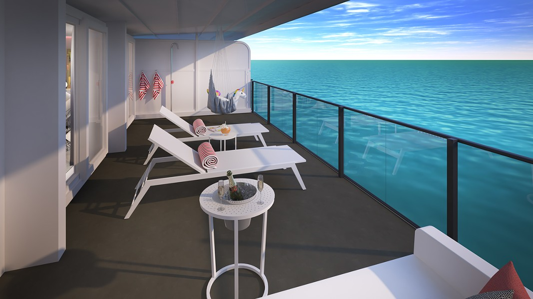 The balcony in the Posh Suite - IMAGE VIA VIRGIN VOYAGES
