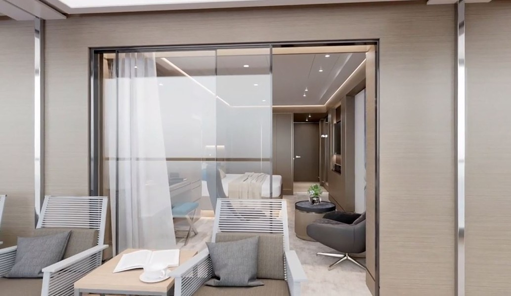 Looking into the Terrace Suite from its private terrace. - IMAGE VIA RITZ-CARLTON YACHT COLLECTION