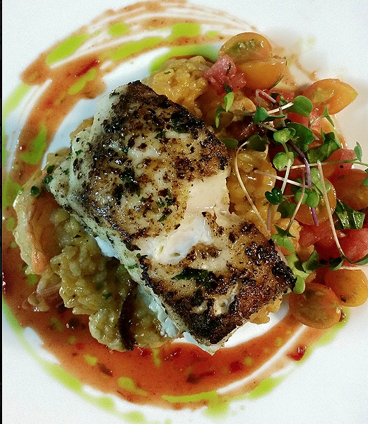 A plate from Cress: Cape Canaveral golden tilefish, watermelon & Gulf shrimp risotto, SunGold tomato & ghost pepper-kissed salsa fresca, red pepper & basil gastrique. - PHOTO COURTESY CRESS RESTAURANT ON FACEBOOK