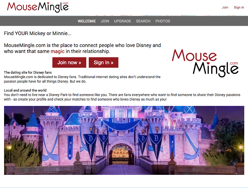 The main page of MouseMingle.com - SCREENGRAB VIA MOUSEMINGLE.COM