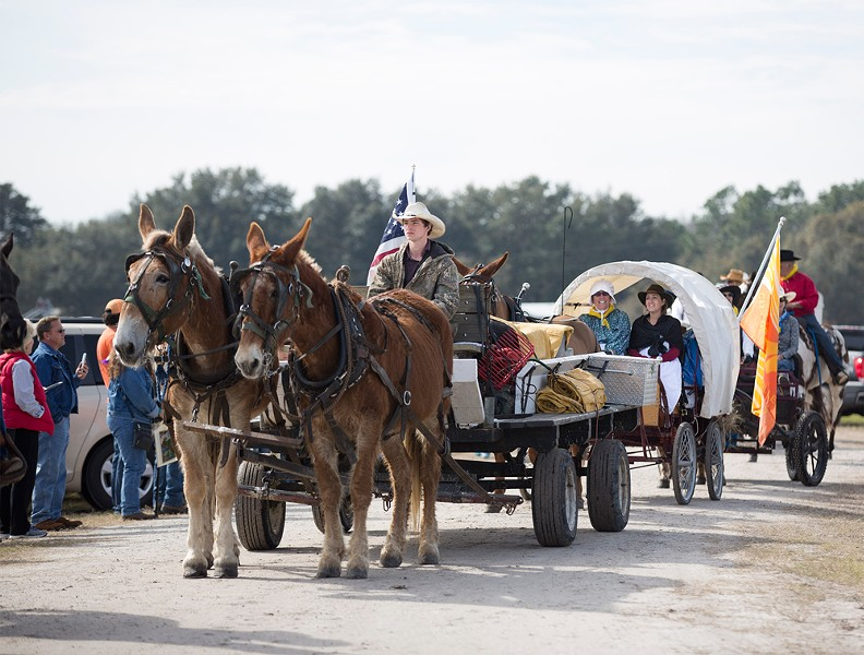 Along with the 400-plus riders and volunteers, - about 20 wagons braved the trip.