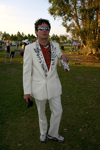 "Steele in a hand-painted suit at Keith ""Scramble"" Campbell's wedding - PHOTO VIA JEF SHELBY"