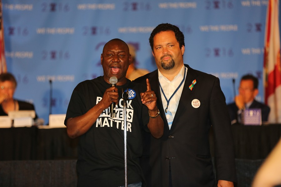 Attorney Ben Crump, left, and former NAACP president Ben Jealous, right, come together to support a criminal justice amendment. - PHOTO BY JOEY ROULETTE