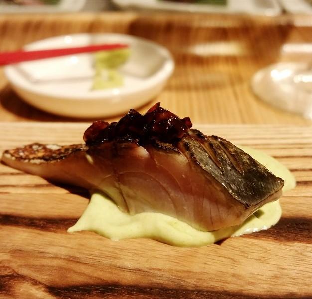 Otsukuri: Saba (Japanese mackerel), edamame puree, soy ginger onion