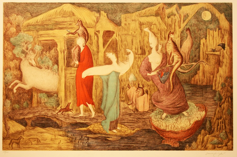 LEONORA CARRINGTON (BRITISH, 1917-2011), 'TUESDAY (STATE II)/MARTES (ESTADO II),' 1987, LITHOGRAPH/LITOGRAFÍA; COLLECTION OF DR. ZAPANTA/COLECCIÓN DEL DR. ZAPANTA © 2019 LEONORA CARRINGTON/ARTISTS RIGHTS SOCIETY (ARS), NEW YORK