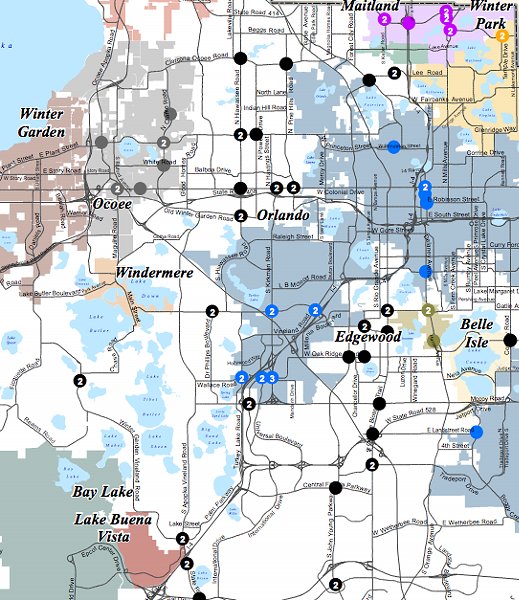 Locations of red light camera systems in Orange County. Click to view whole map.