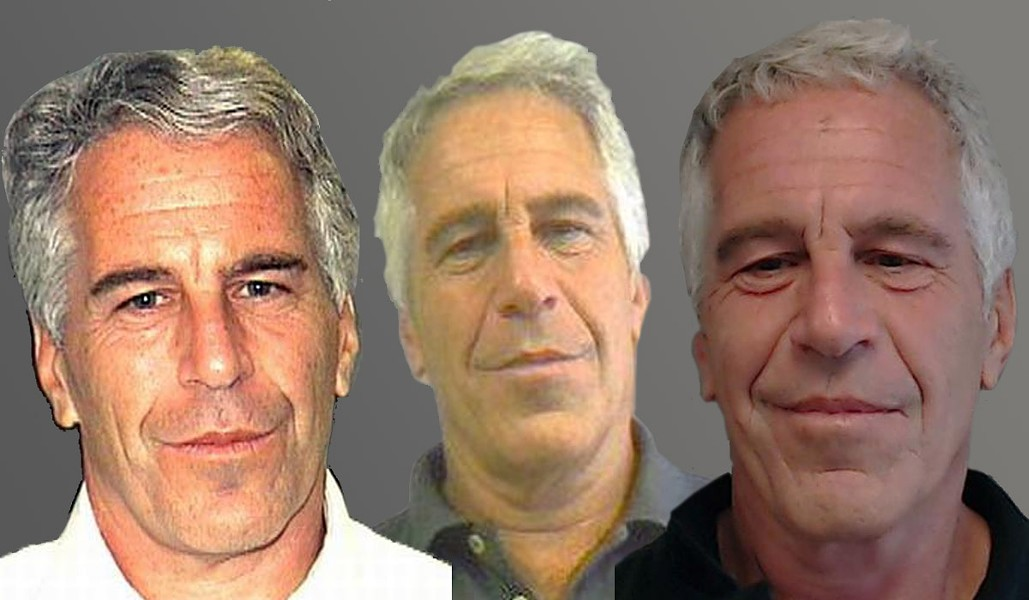 Mugshots of Jeffrey Epstein in 2006, 2011, and 2013, from left to right - IMAGES VIA PUBLIC RECORDS