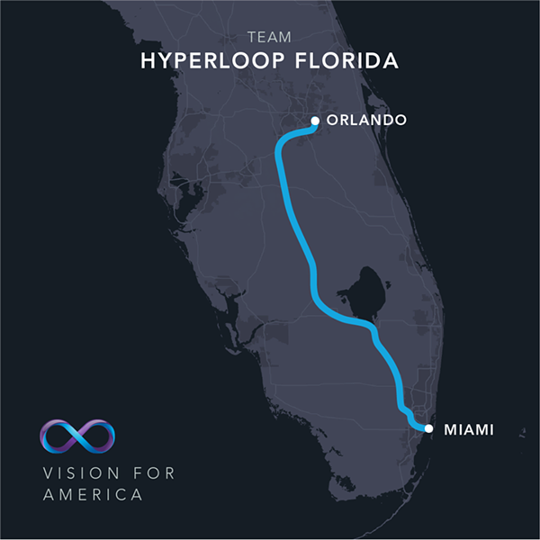 The Virgin Hyperloop One route between Orlando and Miami via Hwy 27 - HYPERLOOP ONE/FACEBOOK