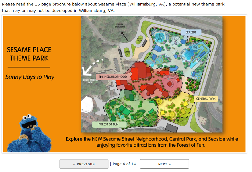 An image from the 2018 leaked survey showing a Sesame Place concept using Busch Gardens Williamsburg's preexisting Sesame Street area - IMAGE VIA COASTERRADIO.COM | FACEBOOK