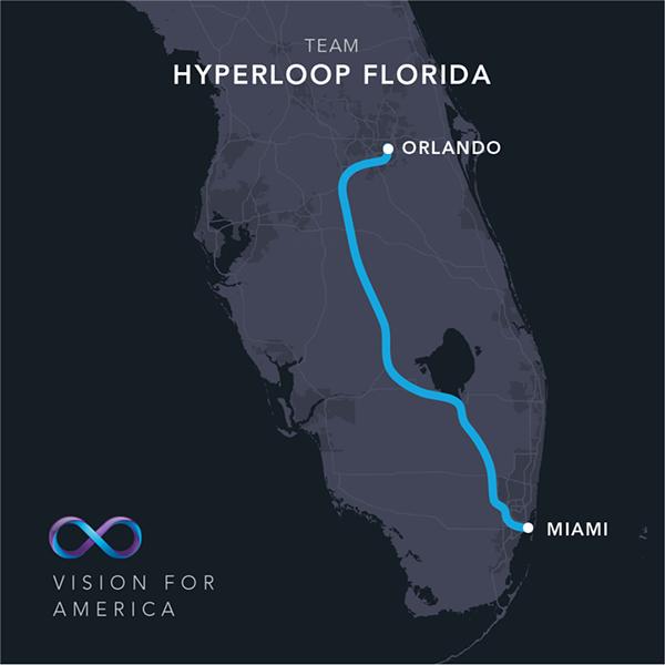 The Virgin Hyperloop One route between Orlando and Miami via Hwy 27 - HYPERLOOP ONE/FACEBOOK