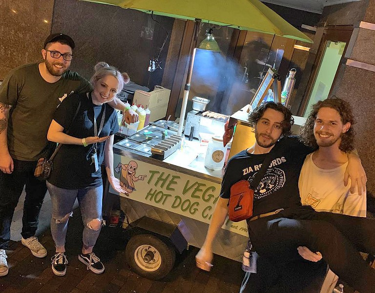 The Vegan Hot Dog Cart, with members of Boston Manor and Eat Your Heart Out - PHOTO VIA THE VEGAN HOT DOG CART/INSTAGRAM