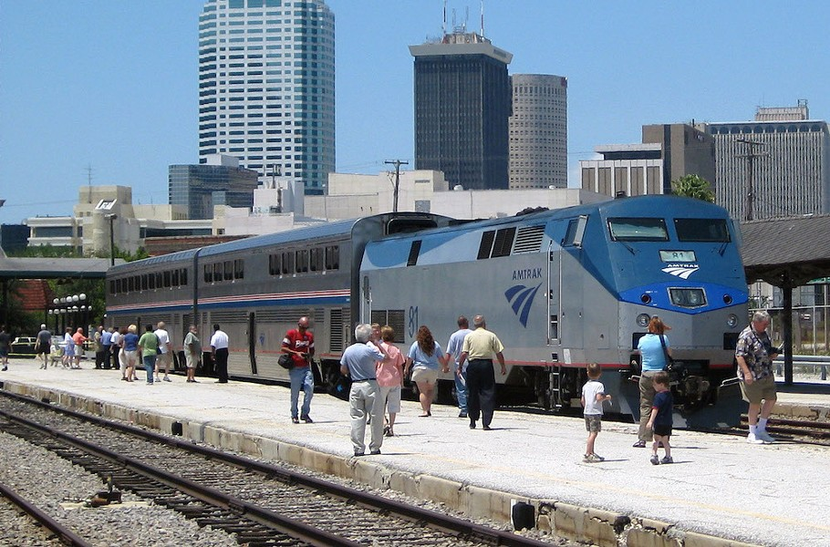 PHOTO OF AMTRAK TRAIN AT TAMPA UNION STATION BY TAMPAGS VIA WIKIMEDIA COMMONS