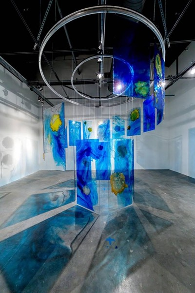 """Below the Surface,"" dimensions variable; resin panels, steel wire, steel beads, dyed and burned Japanese paper - PHOTO COURTESY OF MIRA LEHR"