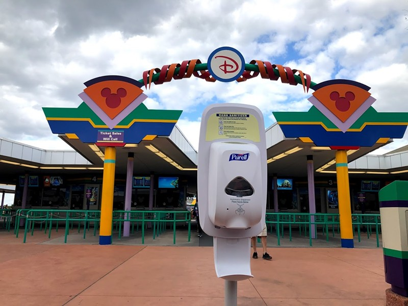 Hand sanitizer station placed at Walt Disney World's Transportation and Ticket Center. - PHOTO BY SETH KUBERSKY