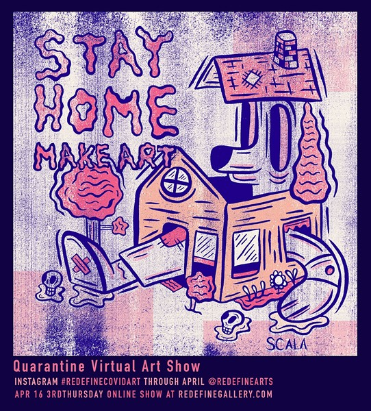 """""""'STAY HOME' showcases how we are all mentally/physically just confined to our homes. There is the looming fear of death lingering outside of our homes,"""" says artist Vincent Scala. - ILLUSTRATION BY VINCENT SCALA"""
