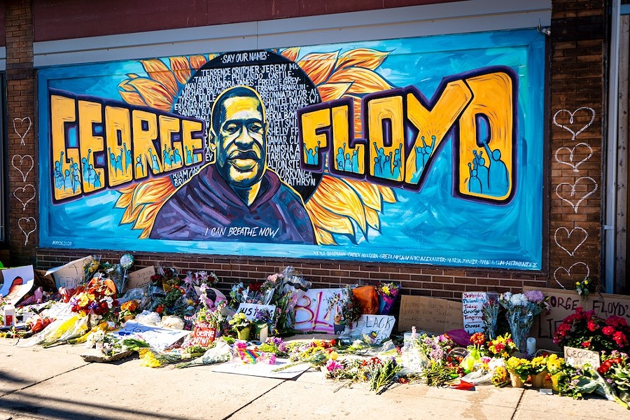 Minneapolis Black Lives Matter graffiti mural memorializing George Floyd - PHOTO VIA MUNSHOTS/UNSPLASH