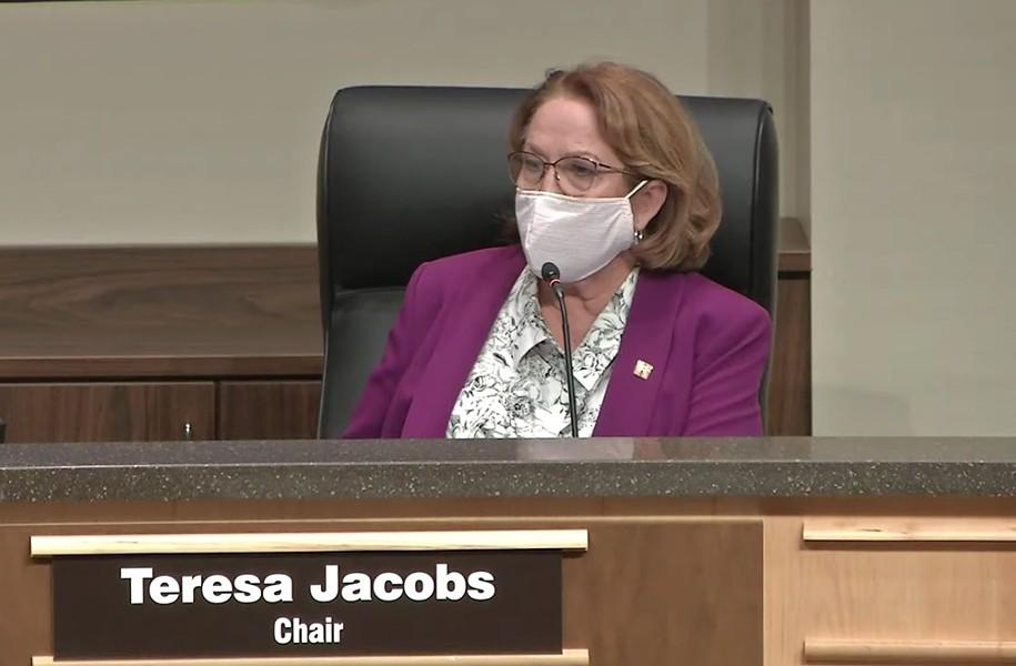 Orange County School Board Chair Teresa Jacobs on Tuesday - SCREENSHOT VIA ORANGE COUNTY PUBLIC SCHOOLS/YOUTUBE