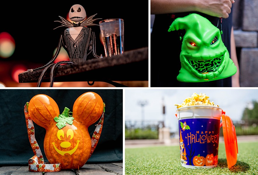Jack Skellington Sipper (Top left), Oogie Boogie Premium Popcorn Bucket (Top right), Mickey Pumpkin Premium Popcorn Bucket (Bottom left), Halloween Base Popcorn Bucket (Bottom right) - IMAGE VIA DISNEY
