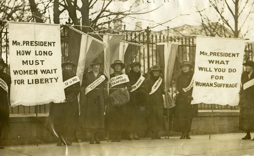 Detail from 'College Women Picketing in Front of the White House, 1917' - PHOTO COURTESY THE MENNELLO MUSEUM