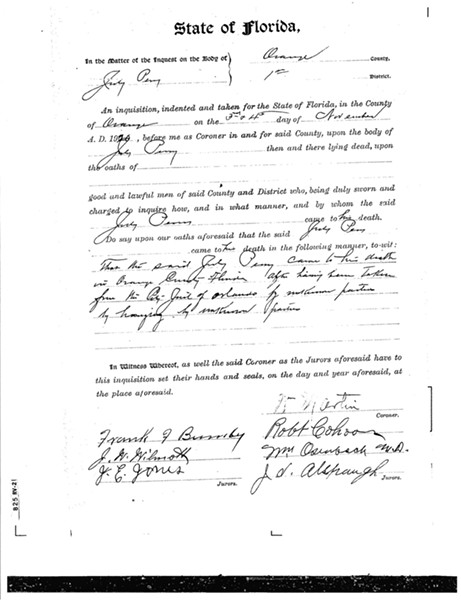 The coroner's report on July Perry. - PHOTOS AND DOCUMENTS COURTESY ORANGE COUNTY REGIONAL HISTORY CENTER