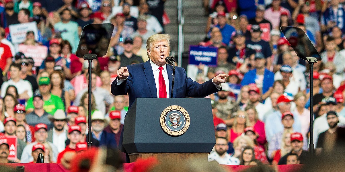 Trump launched his re-election campaign with a rally at Orlando's Amway Center. (That's grifter inception.) - PHOTO BY ROB BARTLETT FOR ORLANDO WEEKLY, JUNE 18, 2019