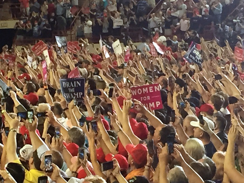 The crowd at Trump's 100-day rally in Harrisburg, Pennsylvania - PHOTO BY BAYNARD WOODS