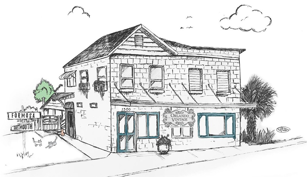 The building at 1500 Formosa Ave. was built in 1952 and originally served as a neighborhood grocery. - ILLUSTRATION BY MATTHEW MOVENS VIA ORLANDO VINTAGE ON FACEBOOK