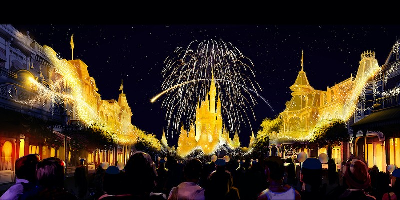 An artist rendering of a new fireworks show to celebrate Walt Disney World's 50th anniversary.