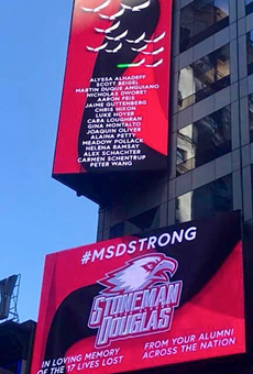 Times Square displays memorial sign for Parkland shooting victims
