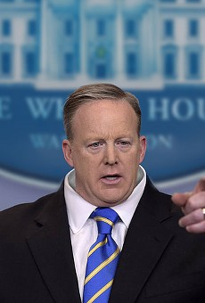 An artist's rendition of what's happening to Spicer's head.