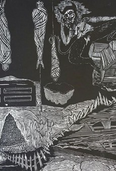 Jacoub Reyes' punk-influenced woodcuts are sharper  than a serpent's tooth
