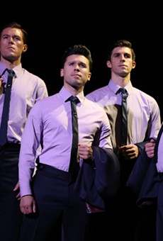 The touring cast of Jersey Boys, at Dr. Phillips Center through Nov. 4, 2018  (l to r: Jonathan Cable, Jonny Wexler, Eric Chambliss and Corey Greenan)