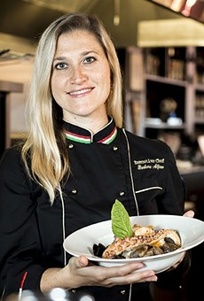 Chef Barbara Alfano at her restaurant, Peperoncino