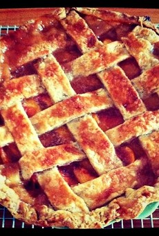 Fresh peach and ginger pie — click on that lattice crust for the recipe.