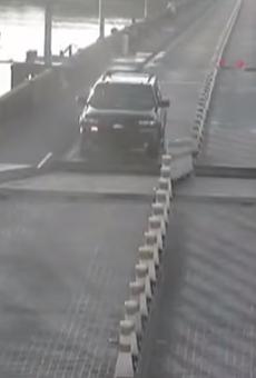 A distracted Florida driver actually jumped an open drawbridge