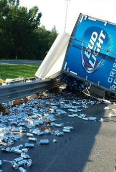 A Bud Light truck overturned on I-75 this morning, committing a huge party foul