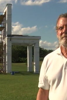 A Winter Haven man is building a 24-foot lawn toilet, neighbors hate it