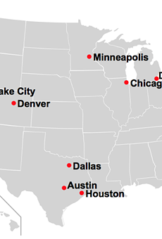 A map shows cities where local authorities don't enforce federal immigration laws