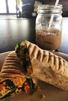 Vegan breakfast burrito at Drunken Monkey Coffee Bar