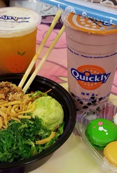 Jasmine green tea with boba, chocolate milk slush, poke bowl with wakame salad, macarons.