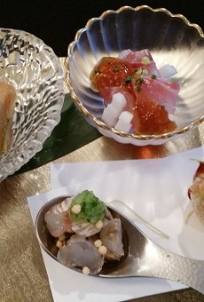 L-R: Cobia Nanbanzuke; Florida rock shrimp; striped bass kobujime-kagenzu; hirouso ball