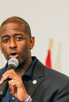 Andrew Gillum at Al Lopez Park in Tampa, Florida on October 27, 2018.